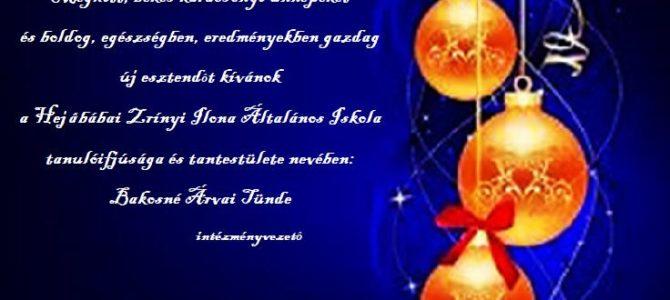 Meghitt békés karácsonyi ünnepeket és boldog, egészségben, eredményekben gazda új esztendőt.